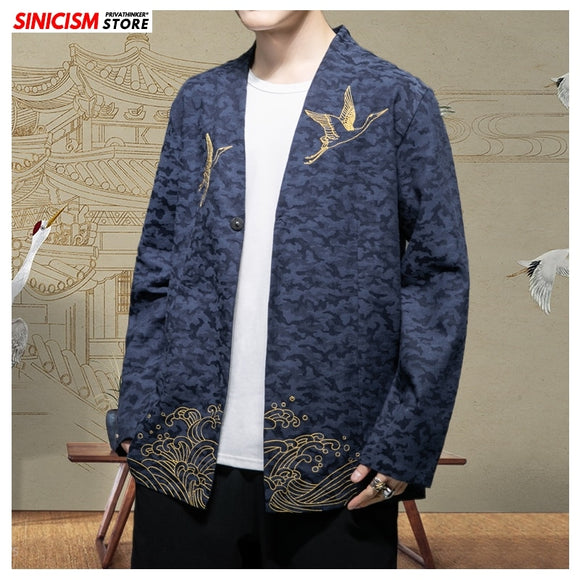 Sinicism Store New Mens Spring Embroidery Jacket Men Chinese Style Casual 2020 Jacket Male Traditional Fashion Coat Oversize 5XL