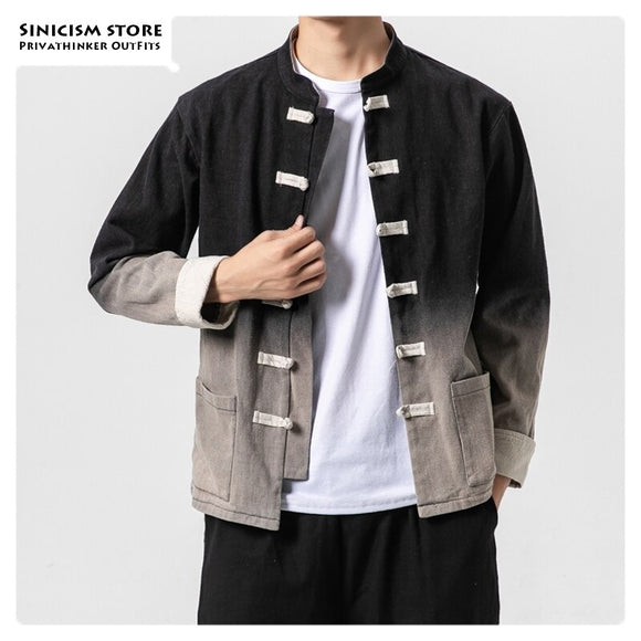 Sinicism Store Gradient Casual Chinese Style Men Jackets Autumn 2019 Vintage Mens Jacket Fashion Single Breasted Male Coat 5XL