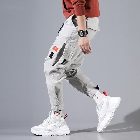 Hip Hip Cargo Pants Men Ankle-Length Pants Men's Joggers Streetwear Solid Color 2019 Spring Pocket Trousers for Male Grey HD034