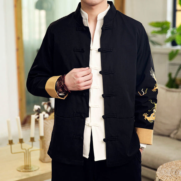 MrGoldenBowl Chinese Style Men Black Jackets Vintage Embroidery Button Man Casual Coats Tang Clothes Japanese Male Jacket Coat