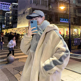 Men Parkas Winter Male Outwear Hooded Patchwork Lambswool Soft Warm Casual Students Korean Trendy Chic Ulzzang Daily All-match