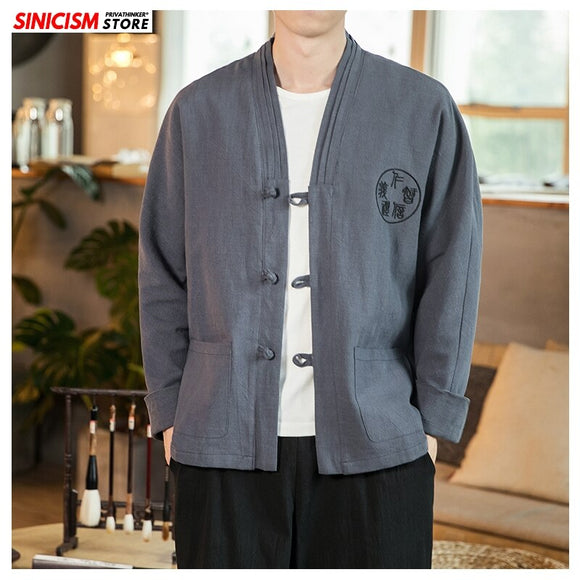 Sinicism Store 2020 Mens Spring Linen Embroidery Jacket Men Chinese Style Casual Jacket Male Buckle Fashion Coat Oversize 5XL