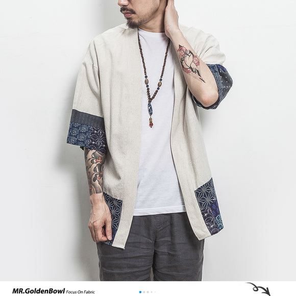 MrGoldenBowl Store Cotton Linen Shirt Jackets Men Chinese Streetwear Kimono Shirt Coat Men Linen Cardigan Jackets Coat Plus Size
