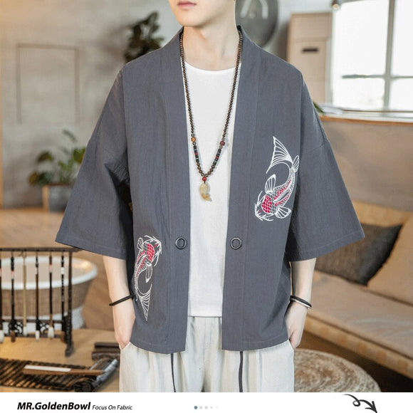 MrGoldenBowl Store Chinese Style Solid Kimono Men Jackets 2020 Embroidery Casual Open Stitch Jackets Mans Oversize Clothes Tops