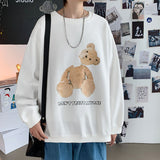 2021 Spring new lovers printed round neck sweater loose youth top Youthful vitality Kpop Holiday Preppy Style Smart Casual