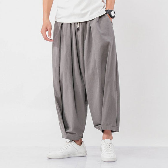 Men's Wide Wide Trousers Chinese Style Casual Harem Pants Autumn Solid Color Oversize Man Pants Plus Size 5XL