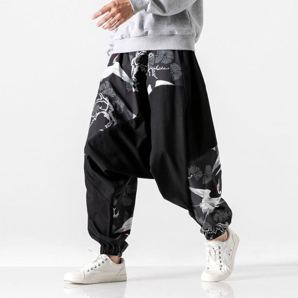 Chinese Style Streetwear Pants Summer Thin Section Beam Feet Harem Pants Trend Printing Casual Pants Fat Fat Loose Crotch Pants