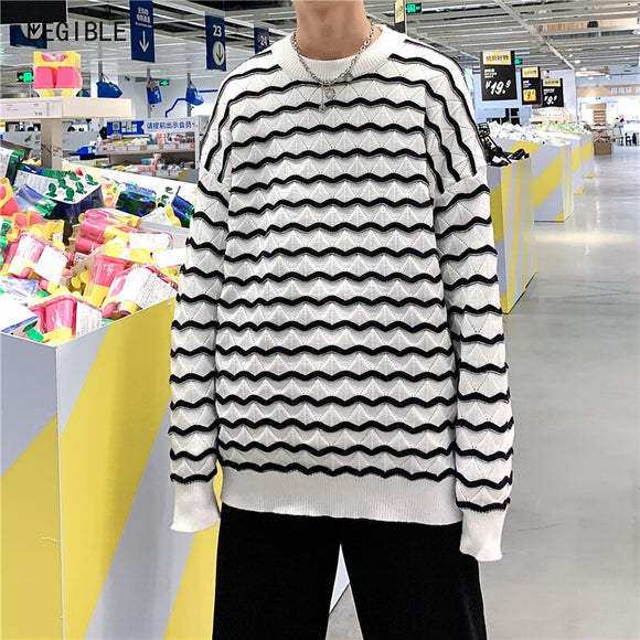 LEGIBLE 2020 Winter Casual Striped Sweater Men Hip Hop Korean Loose Pullovers Men O Neck Callor Oversized Men Sweater