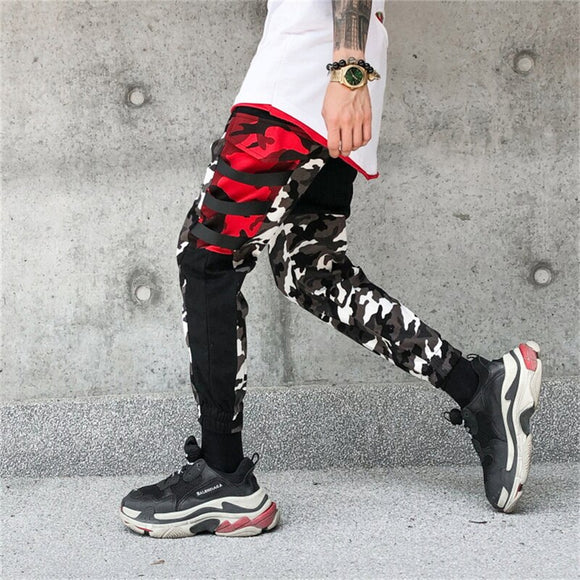 Color Block Patchwork Camo Jogger Pants Men's 2019 New Hip Hip Streetwear Cargo Trousers Brand Designer Hiphop Pants