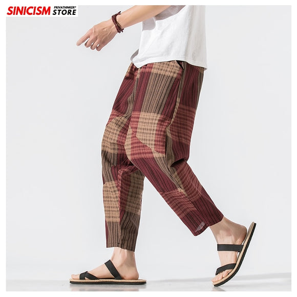MrGoldenBowl Store Men Patchwork Harem Pants Mens Breathable 2020 Chinese Style Loose Joggers Male Summer Pants Oversize Bottoms
