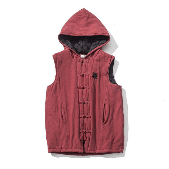 MrGB Autumn Winter Man Thickened Hooded Sleeveless Vest Men's Chinese Style Cotton Linen Parka Casual Oversize Warm Clothing