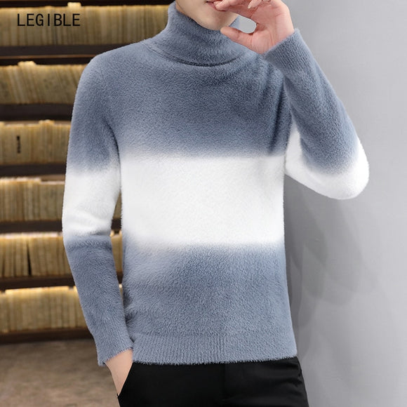 legible Winter Thick Warm Turtleneck Sweater Men Brand Patchwork Mens Sweaters Slim Fit Pullover Men Knitwear Male