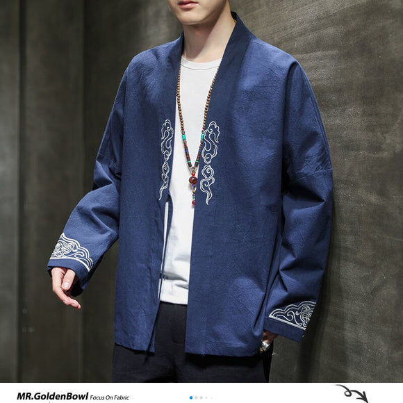 MrGoldenBowl Men's Oversized Kimono Jackets Streetwear Men Casual Loose Vintage Coats 2020 Autumn Men's Chinese Style Outwear