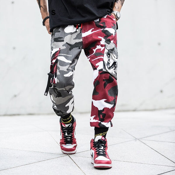Color Block Camo Cargo Joggers Pants Mens Hip Hop Casual Camouflage Streetwear 2019 Fashion Ankle-Length Cotton Pants WJ210