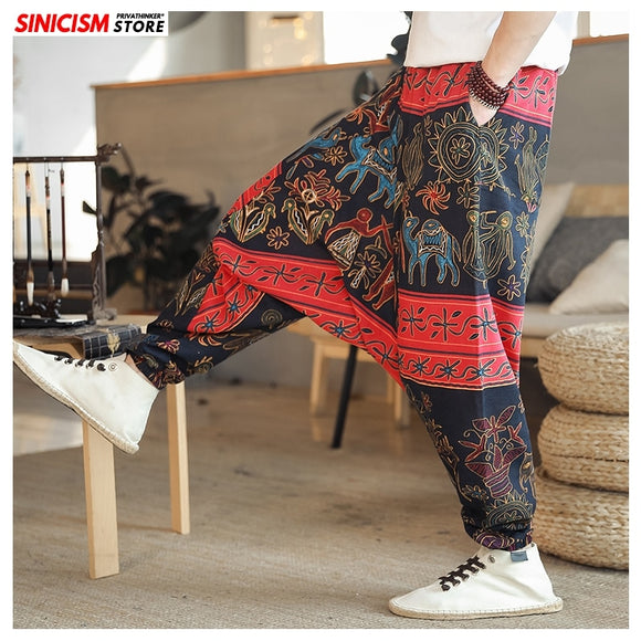 Sinicism Store Men Printed Summer Loose Cross Pants Mens 2020 Cotton Linen Trousers Male Oversize Chinese Style Harem Pants 5XL