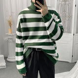2020 Autumn And Winter New Youth Popular Couple Color Matching Striped High Neck Loose Sweater Fashion Casual Pullover M-3XL