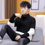 2020 Winter High Neck Thick Warm Sweater Men Turtleneck Brand Patchwork Mens Sweaters Slim Fit Pullover Men Knitwear Male