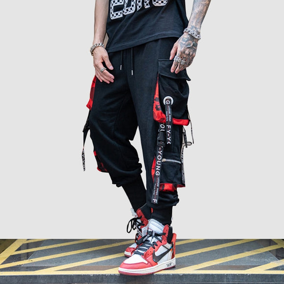 Hip Hop Ribbons Cargo Pants Men Joggers Pants Streetwear Men 2019 Fashion Mens Elastic Waist Pant Ribbons Cotton Black HW203