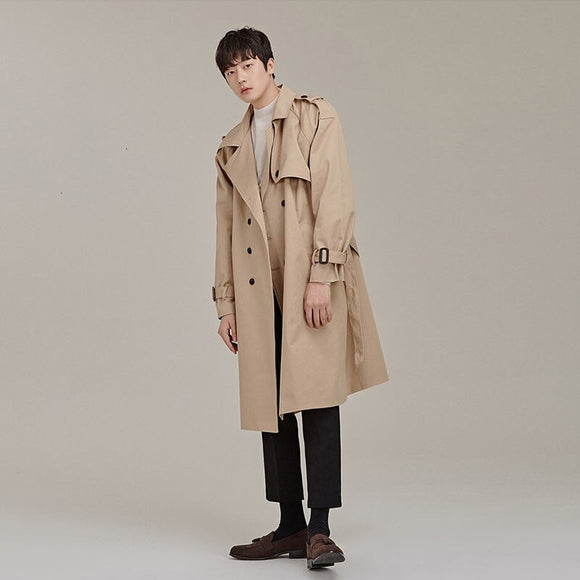 MrGoldenBowl New Spring And Autumn Men Coat Long Flare Sleeve Turn-Down Collar Double Breasted Solid Casual Style Men Coat