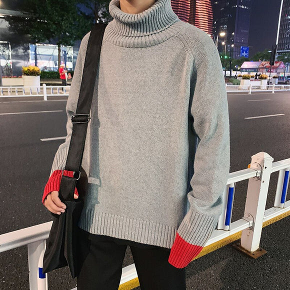 2020 Autumn And Winter New Youth Popular Japanese Men's Loose High Neck Solid Color Sweater Fashion Casual Pullover M-2XL