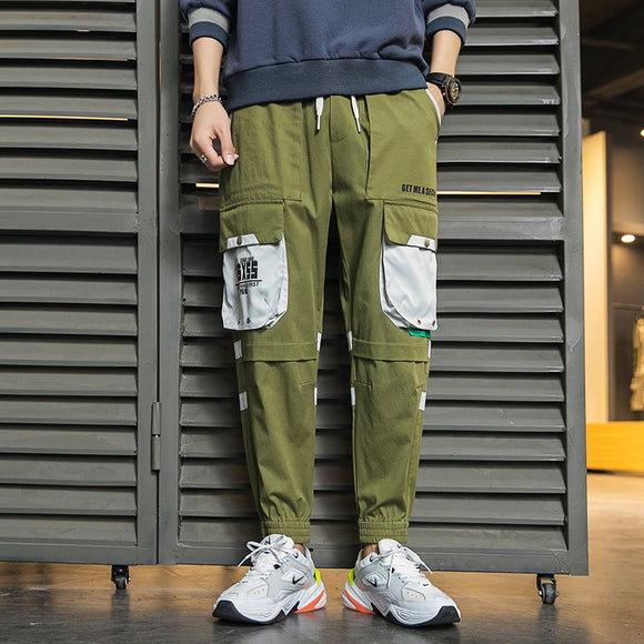 Wholesale Cargo Pants Men Bib Overall Men's Patchwork Pencil Pants Men's Jogger Hip Hop Streetwear Pants Japan Style