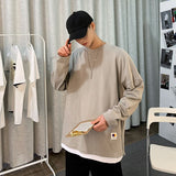 2021 spring new loose trend solid round neck casual sweater versatile Youthful vitality Kpop Holiday Preppy Style