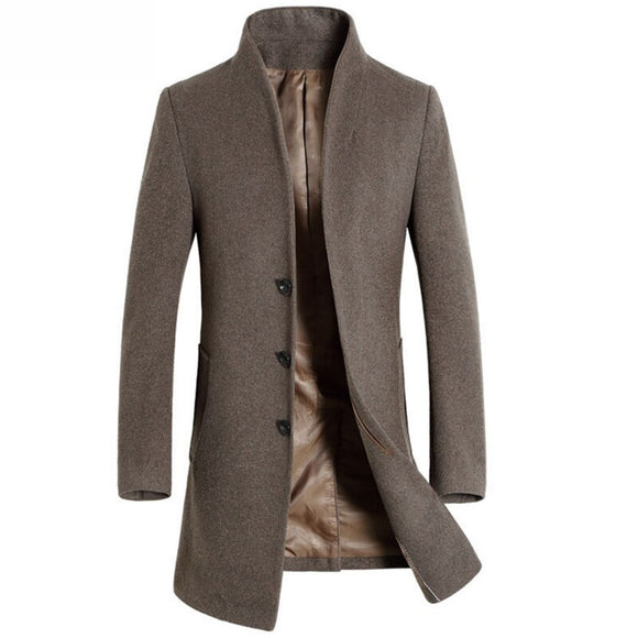 Mwxsd winter casual Men's wool Jackets and coats men slim fit business brown wool overcoat jacket male woolen outwear clothing