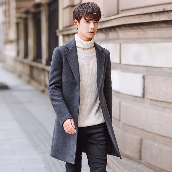 2019 New Long Woolen Trench Coat Men Windbreak Winter Fashion Mens Overcoat Quality Warm Trench Coat Male Jackets size M-5XL