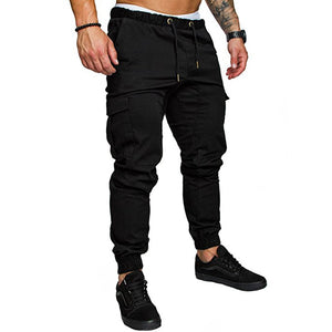 Male Slim Solid Color Decoration Casual Pants Trousers Mens Hip Hop Harem Joggers Pants Multi-pocket Pants Sweatpants
