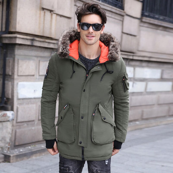 2019 Winter Mens down Jacket And Coat Top Quality Thicken Cotton Long Style Overcoat Parka Men Fur Collar Winter Jacket Men