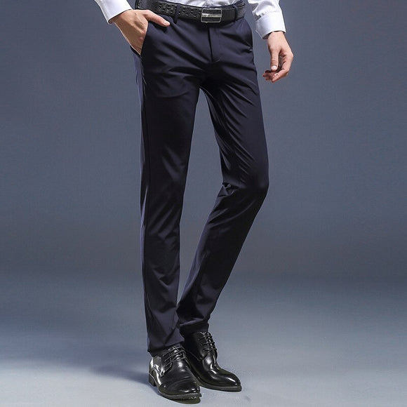 New Arrival Brand Business Casual Pants Men Formal Fit Mid Dress Suit Full Length Perfume Stretch Office Wedding Mens Trousers