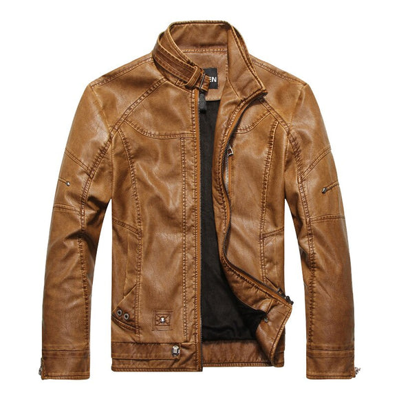 Men Autumn Winter Faux Leather Coats Jacket Motorcycle PU Leather Jackets Male Business casual Coats clothing veste en cuir