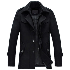 Mens Overcoat Winter Wool Coat Slim Fit Jackets Fashion Outerwear Warm Man Casual Jacket Overcoat Pea Coat Plus Size M-4XL