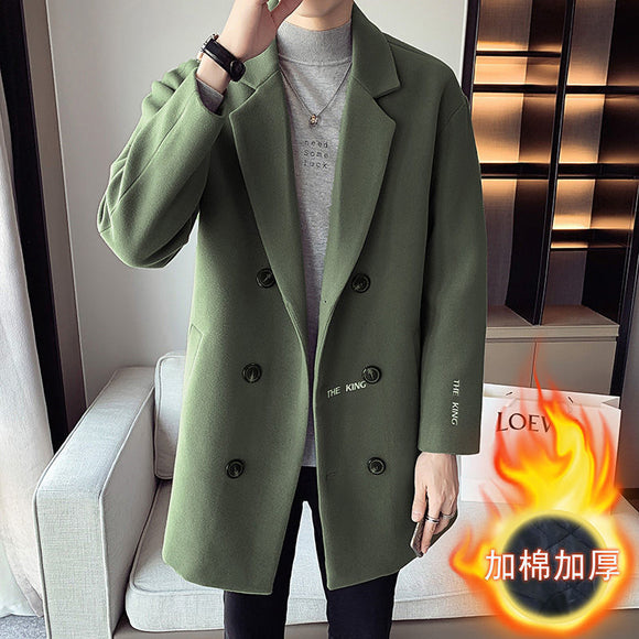 MrGoldenBowl Autumn And Winter Men's Coat Mid-Length Double Breasted Solid Casual Style Men Coat Turn-Down Collar Woolen Coat