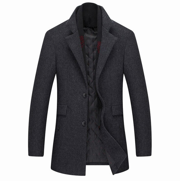New fashion Winter Wool Coat Slim Fit Jackets Mens Pure Color  Casual Warm Outerwear Jacket and coat Men Pea Coat
