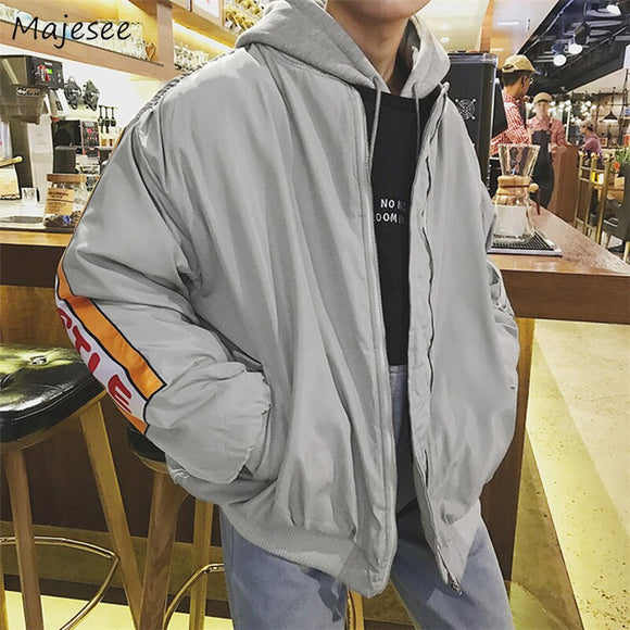 Parkas Men Printing Oversize O-Neck Leisure Loose Harajuku Students Overcoats Mens Ulzzang All-match Hip Hop Winter Outerwear