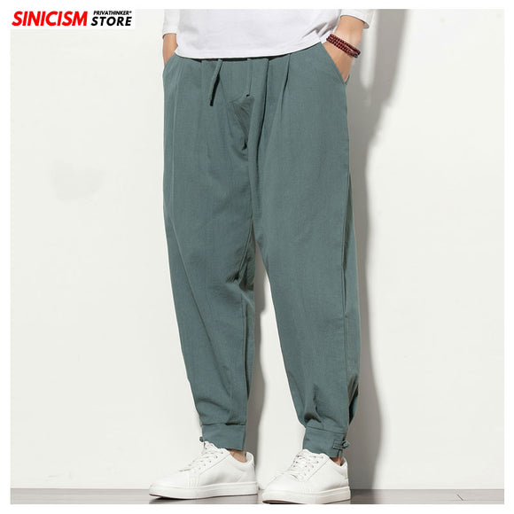 Sinicism Store Autumn Oversize Joggers Men's Harem Pants Solid Fitness Full-Length Mens Trousers Chinese Style Clothes Male 2020