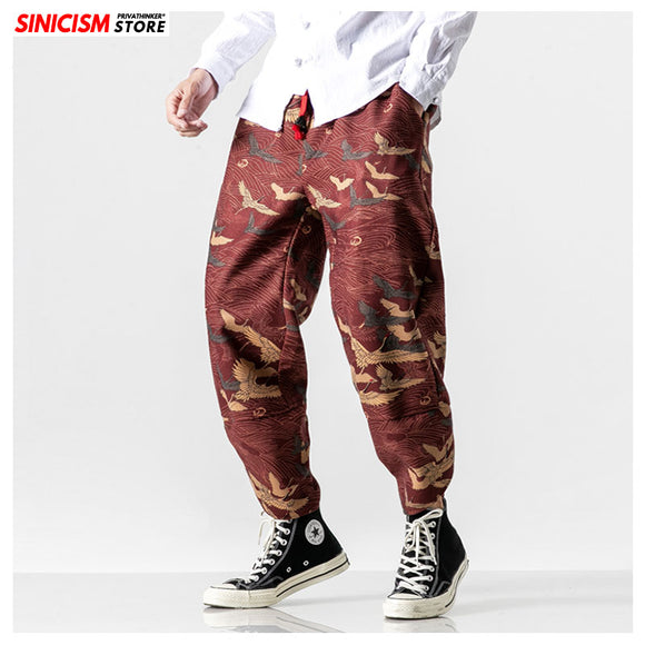 MrGoldenBowl Store Baggy Linen Camouflage Harem Sweatpants Autumn Male Loose Legging Pants Japanese Casual Cotton Trousers