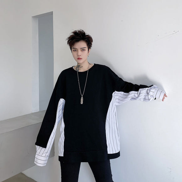 2021 new spring splicing striped loose men's long sleeve sweater two color Kpop Holiday Preppy Style Hip Hop Smart Casual