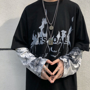 ins Harajuku fashion new tie dye flame printed fake two T-shirts sweater coat men Kpop Smart Casual Hip Hop