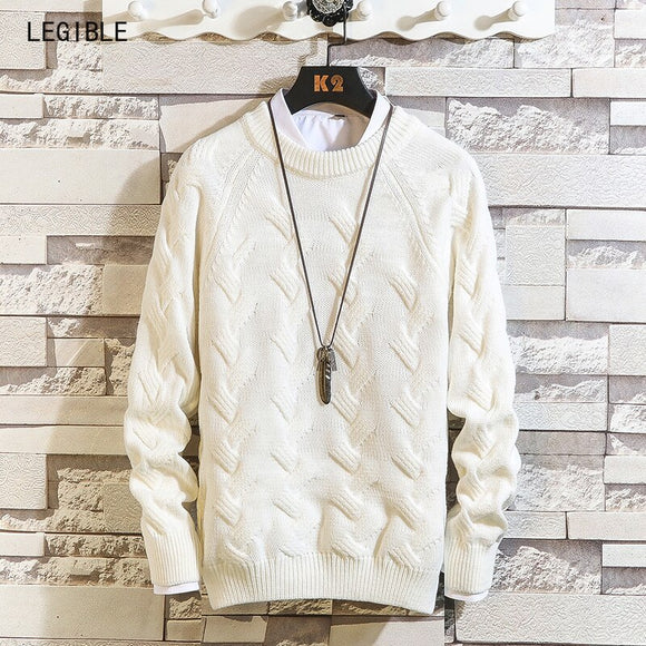 Legible Casual Long Sleeve Autumn Winter Sweater Men Korean Style Slim Knitted Blue Sweater Pullover Jumper Fashion Christmas