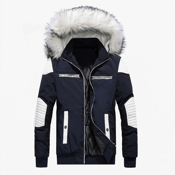Spring Autumn Jacket Men Clothes 2019 Casual Thicken Warm Parkas Streetwear Fake Fur Collar Hooded Jackets And Coats Men Outwear