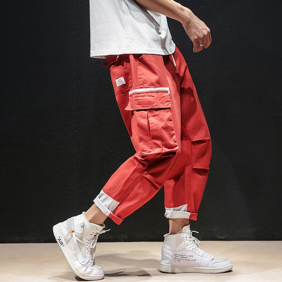 Men Pants Cargo Trousers with Multi-Pockets Drawstrings Adjustable Ankle-length Pant Handsome Cool Summer Oversized Korean Style