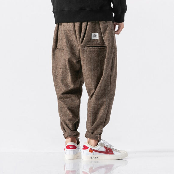 3 Color Men Winter Thick Warm Woolen Casual Plaid Harem Pant Male Loose Fashion Trousers Streetwear Hip Hop Pant Plus Size M-5XL