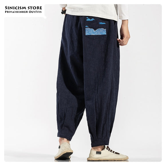 Sinicism Store Male Chinese Style Cotton Linen Trousers Men Loose Oversize Harem Pants Mens 2020 Autumn Embroidery Fashion Pants