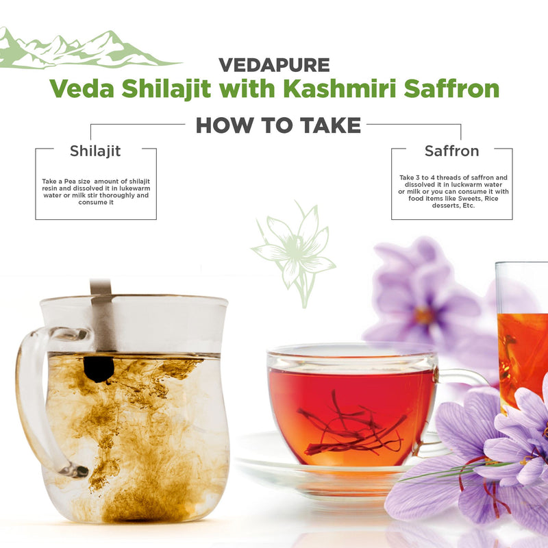 Vedapure Ayurvedic Natural and Pure Raw 25g Shilajit Resin with 1g Kashmir Kesar Saffron Combo Pack