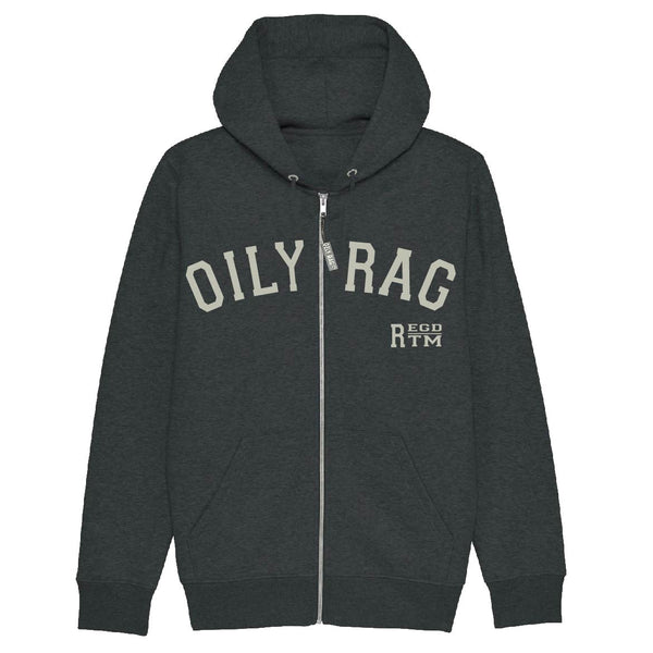 Oily Rag Reg TM Zip Thru Hoodie - Dk Grey Heather