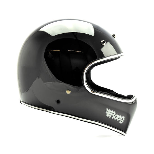 ROEG Peruna full face motorcycle helmet. Gloss black with peak.
