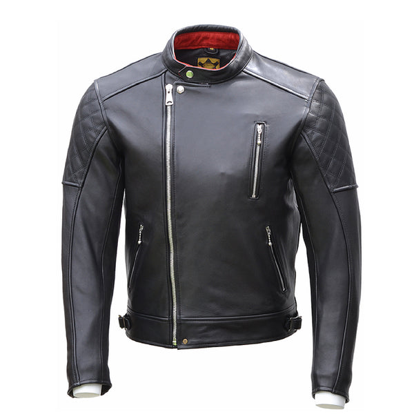 GOLDTOP BOBBER CE Armoured mens leather Jacket in Black with Knox CE Level 1 shoulder and elbow armour UK FREE POSTAGE