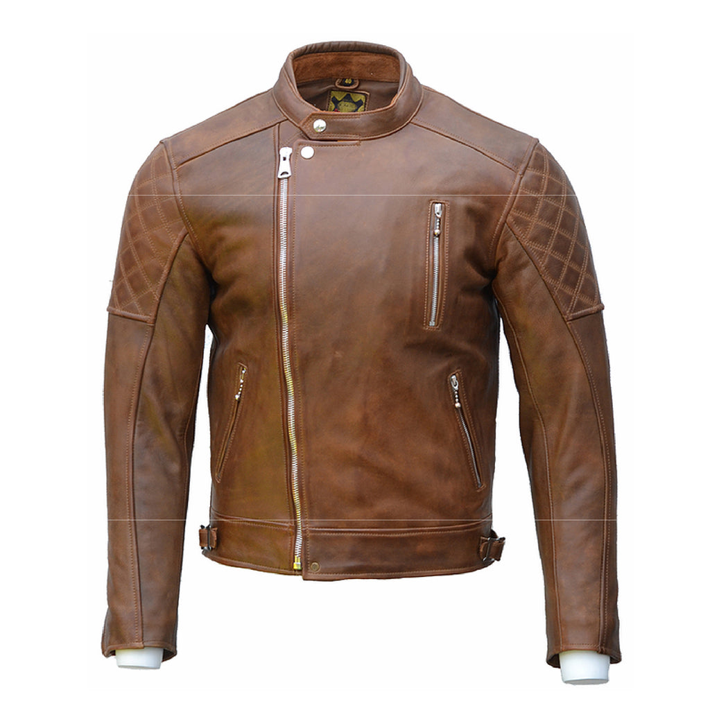 GOLDTOP BOBBER CE Armoured leather mens Jacket in Brown with Knox CE Level 1 shoulder and elbow armour UK FREE POSTAGE